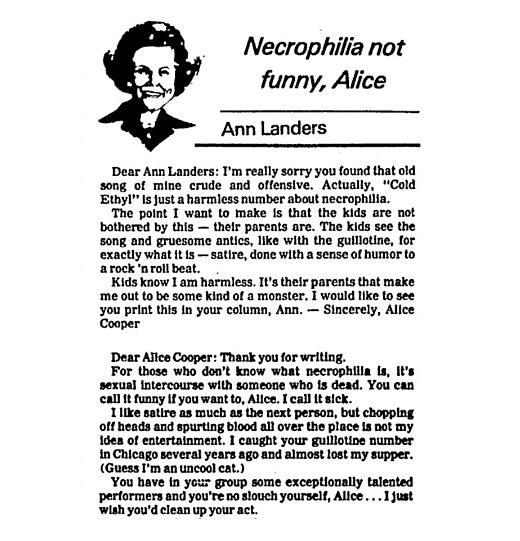 Necrophilia not funny, Alice