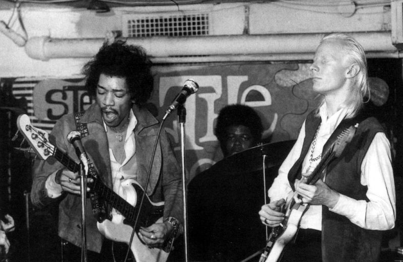 Jimi Hendrix on bass, Johnny Winter on guitar, and Buddy Miles on drums February of 1969