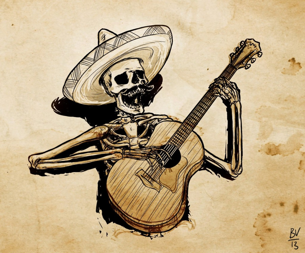 skeleton sombrero guitar paper crop