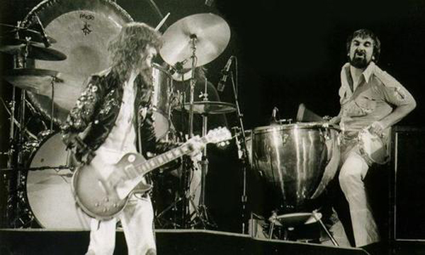 "Keith Moon joines Led Zeppelin live on stage at The Forum in Los Angeles California on June 23, 1977 during the song ""Moby Dick"" and the encores."