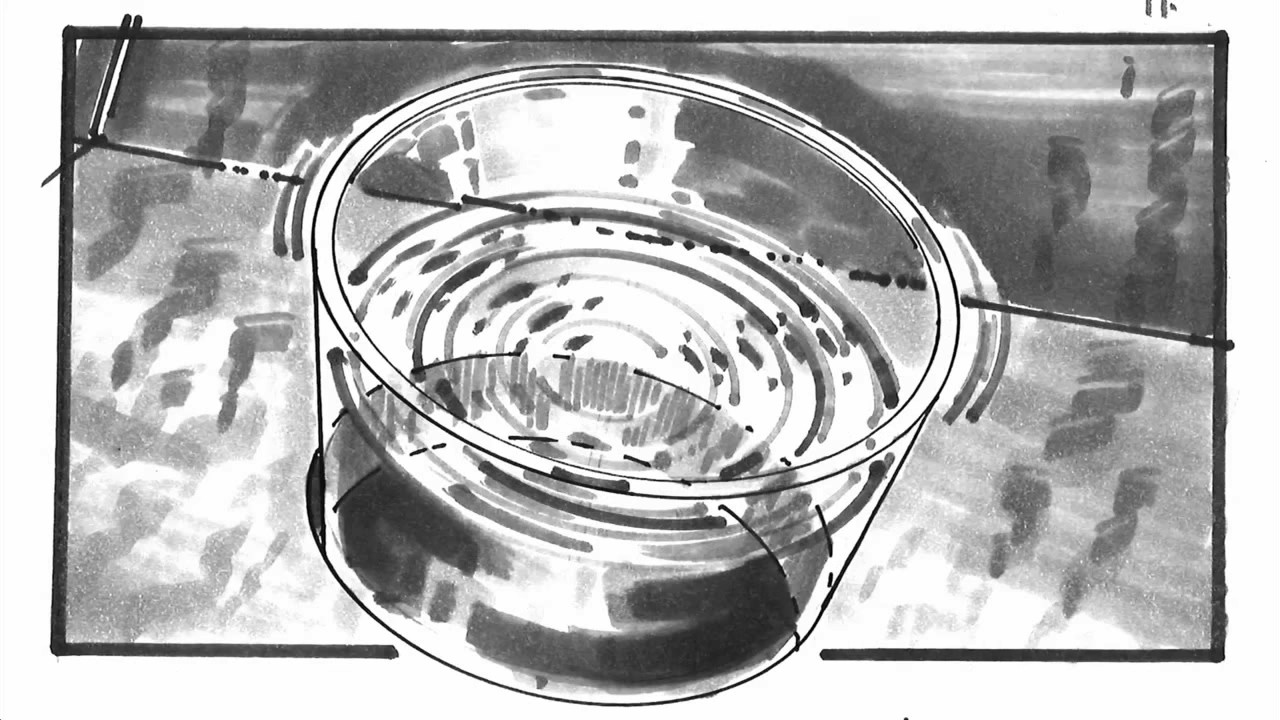 Jurassic Park, glass of water ripple storyboard