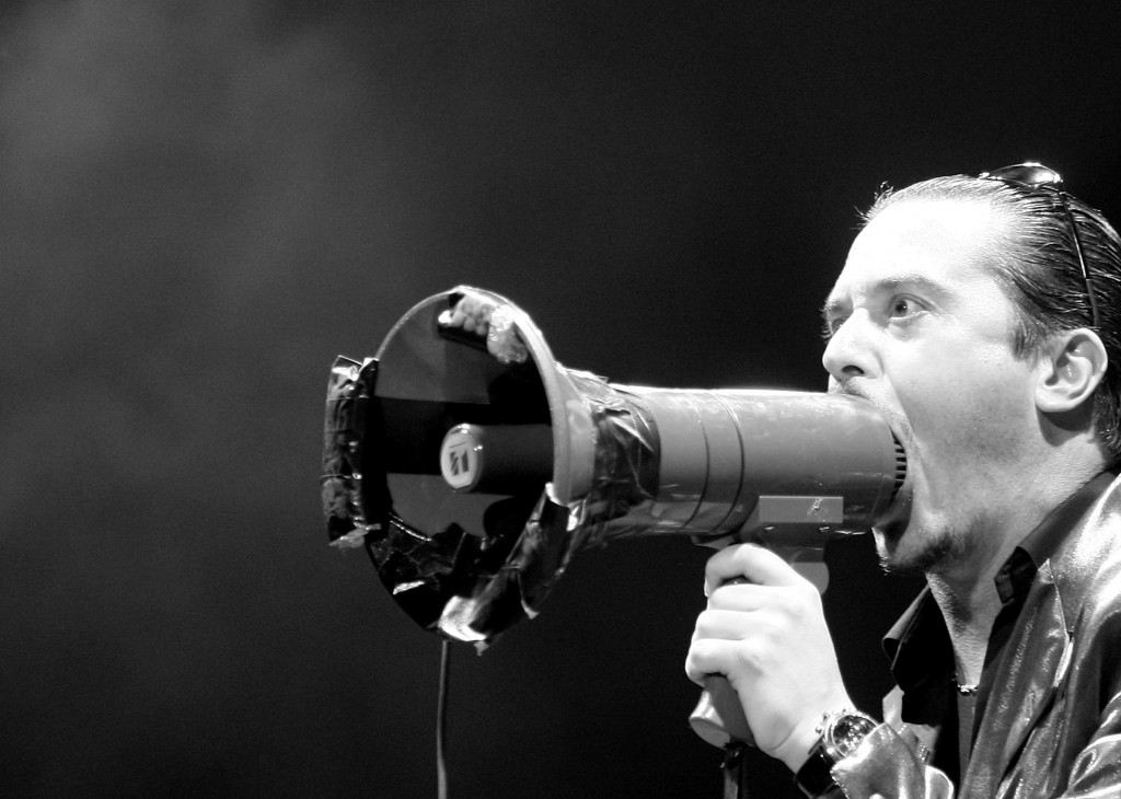 SYDNEY, AUSTRALIA - FEBRUARY 21:  (EDITORS NOTE: Image has been converted to black and white.) Mike Patton of Faith No More performs on stage at Soundwave Festival at Eastern Creek Raceway on February 21, 2010 in Sydney, Australia.  (Photo by Mark Metcalfe/Getty Images)