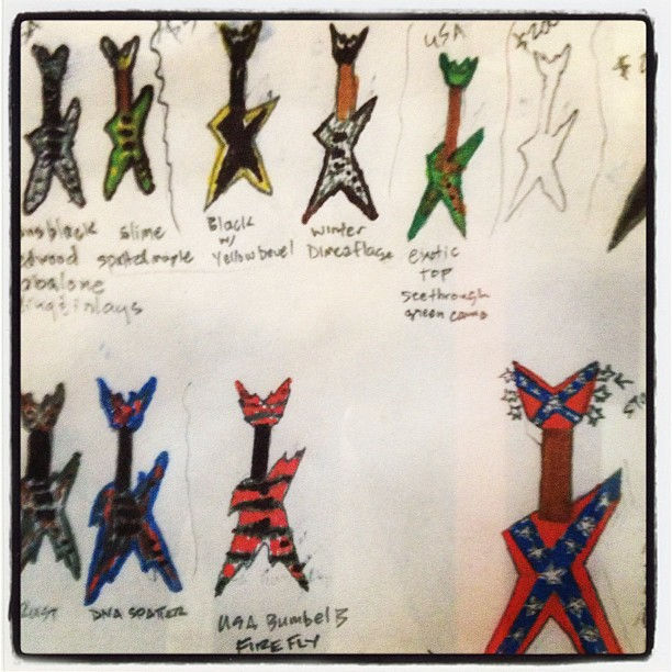 Original Dimebag Darrell drawings of his Dean Razorback guitar concepts at Dean USA HQ