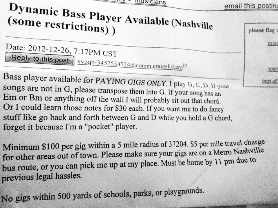 Dynamic bass player available