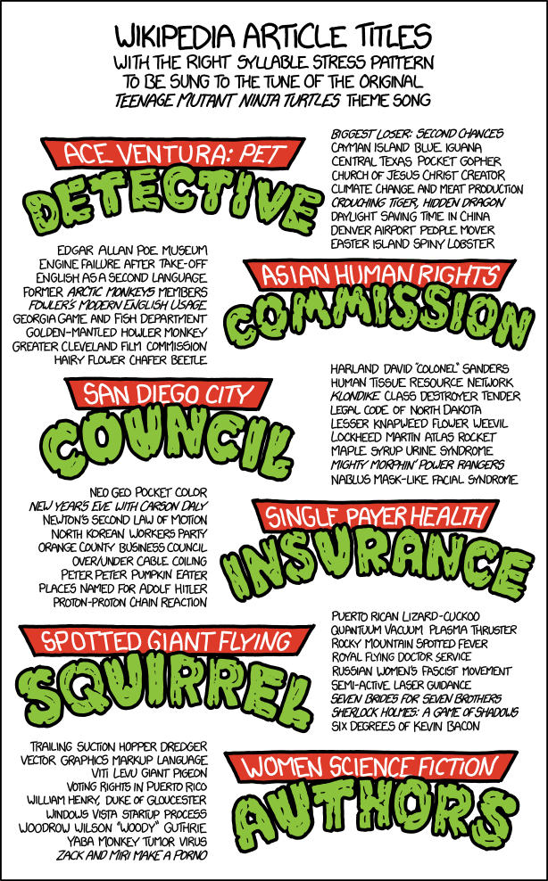 xkcd: Teenage Mutant Ninja Turtles