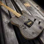 A Fender Front Row Legend Esquire guitar, made from reclaimed wood from the Hollywood Bowl's old bench seats