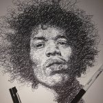 Vince Low, Simply Scribbly exhibition in Singapore, «Jimi Hendrix» progress