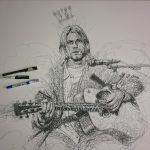 Vince Low, Simply Scribbly exhibition in Singapore, «Kurt Cobain» progress