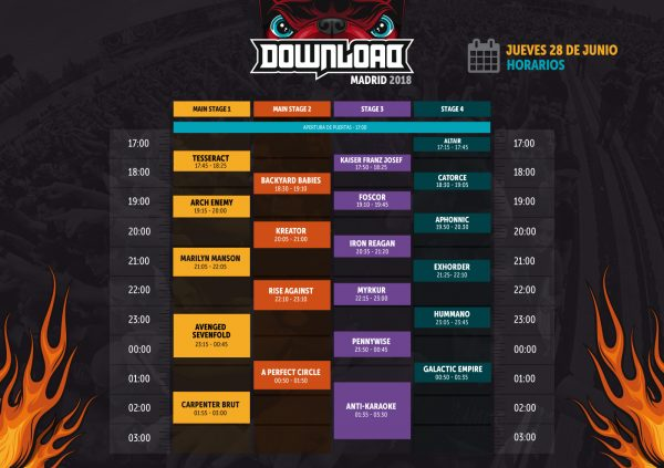 Horario Download 2018 Madrid (28/06)