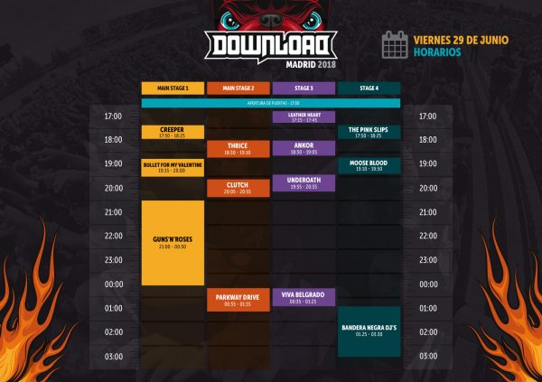 Horario Download 2018 Madrid (29/06)