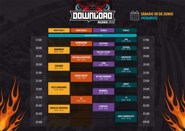 Horario Download 2018 Madrid (30/06)