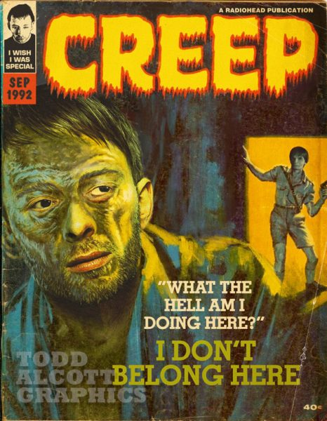 Todd Alcott Graphics - Radiohead 'Creep' Creepy Magazine Mashup Art Print